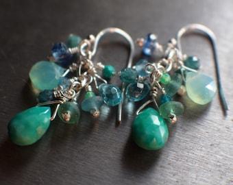 Wedding Jewelry Opal and Sleeping Beauty Turquoise Drop Earrings Opal Gift For Wife,Blue Gemstone Earrings Peruvian Blue Opal Earrings