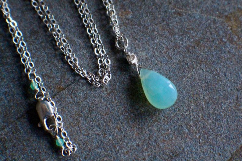 October Birthstone Necklace Handmade Minimalist Necklace GENUINE AAA Peruvian Blue Opal Gemstone Necklace