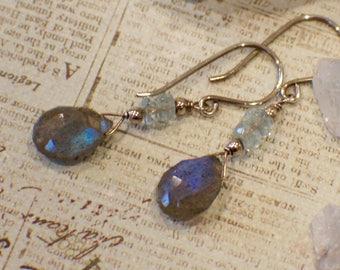 Labradorite Earrings, Aquamarine Earrings, AAA Gemstones, March Birthstone Earrings, Sterling Silver Earrings, Gemstone Earrings