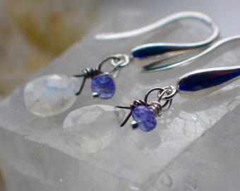 Moonstone Earrings, Tanzanite Earrings, AAA Moonstone, Gemstone Earrings, Sterling Silver Earrings, Gemstone Jewelry