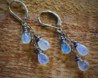 Rainbow Moonstone Trio Earrings, Handmade Earrings, Blue Flash Moonstone, Gemstone Earrings, June Birthstone Earrings, Gift for Girlfriend
