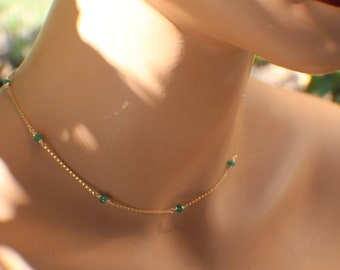 Emerald Necklace, May Birthstone, Genuine Zambian Emeralds, Birthstone Necklace, Layering Necklace, 925 Silver or Gold Fill, Heart Chakra