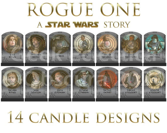Secular Celebrity Saint Style R1 K2SO Death Star Rebels Resistance Darth Vader Saw Gerrera Scarif Star Wars Rogue One Prayer Candle Set