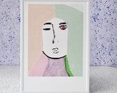 Modern Wall Art, Original Scandinavian Modern, Pastel Women Minimalist Print , Wall Art prints, Home decor, Gift for her, Nordic Art