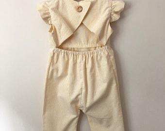 Lemon stripe 3/4 length jumpsuit