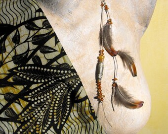 Native American hair clip / hair clip feather pendant