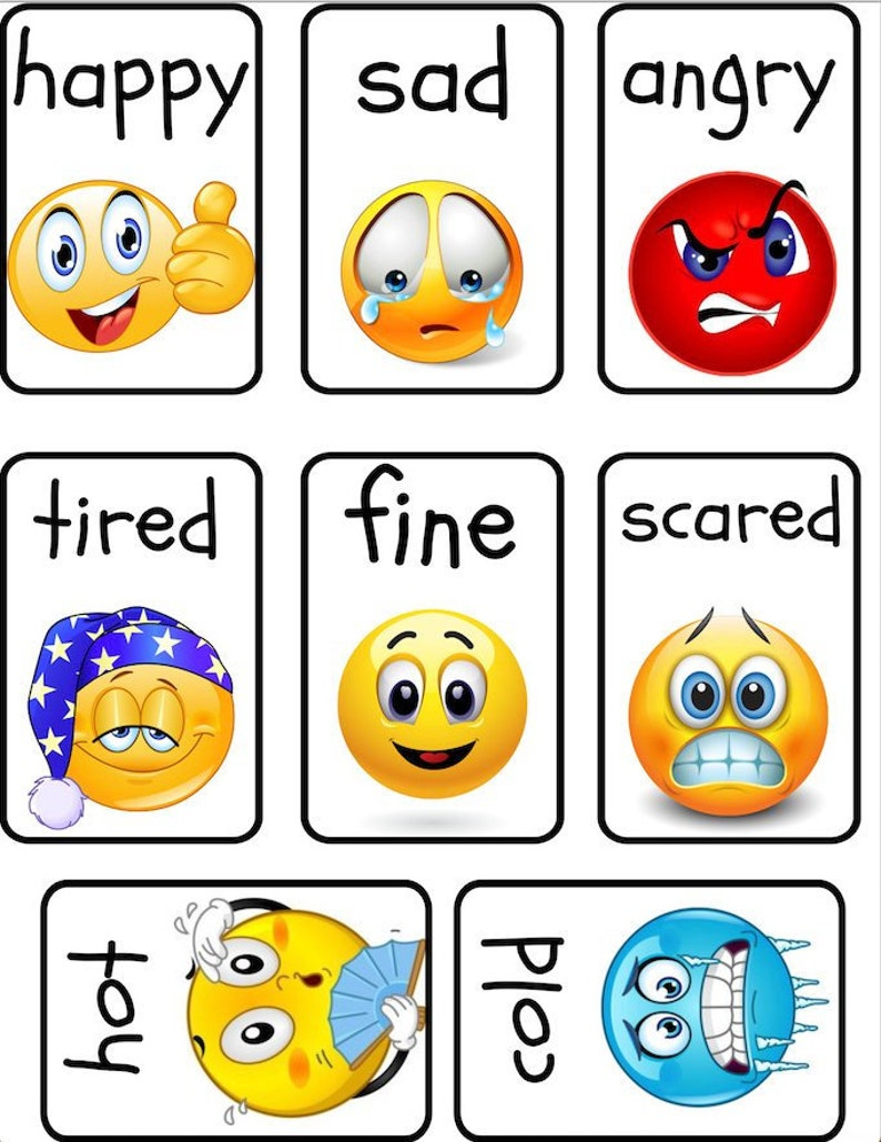 graphic about Emoji Feelings Printable identify PRINTABLE -Emoji Sensation Flashcards