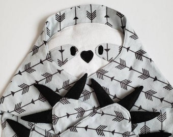 Sloth Lovey Baby Blanket, Play Mat, Sloth Blanket, Sloths, Grey, Grey Arrows, Grey and Black, Gender Neutral, Baby Boy Gift, Baby Girl Gift