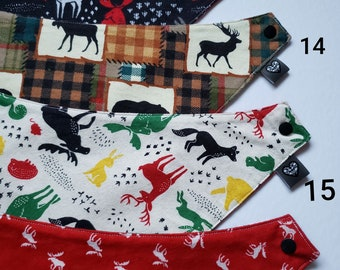 Woodland and Christmas Reversible Baby Bandana Bibs - Available in different prints