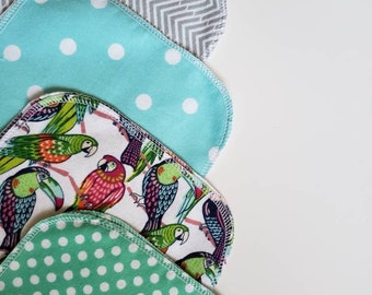Reusable Baby wipes,  zero waste baby gift, Mama Cloth, Wipes, Unpaper, Cloth Diapering, Baby Wash Cloths, Eco-friendly baby, Parrot
