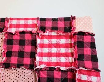 Pink Plaid and Polka Dot Remnants Rag Quilt - Hot Pink, Light Pink