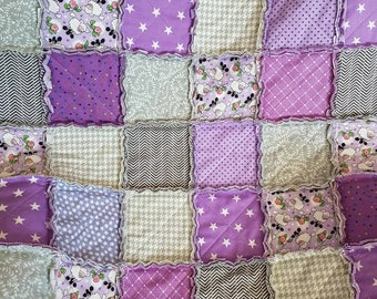 Purple Baby Quilt, Sheep Baby Quilt, Baby Rag Quilt, Handmade Baby Quilt, Purple Yellow Quilt, Baby Shower Gift, Baby Girl Gift, Star Quilt