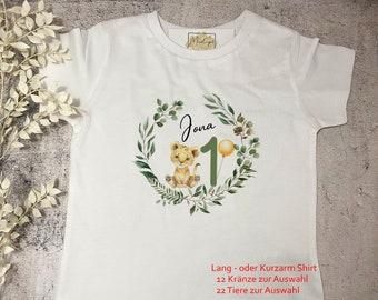 12 wreaths, 22 animals | Birthday shirt T-shirt first birthday | 1st Birthday Girl Boy| Children's shirt Long sleeve shirt personalized party