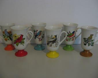 2c253dc50b3 1960s Vintage - Set of 6 Irish Pedestal Coffee Cups - Birds by Fred Roberts  - Japan