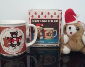 Very Rare! Vintage 1986 Christmas Around The World - Tender Loving Bear Mug - Complete in Box