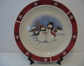 """10.5"""" Christmas -  Snowman & Woman Dessert Plate"""