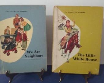 "2 - Vintage 1957 & 1964 ""The Ginn Basic Readers"" We are neighbors - The Little White House - Books"