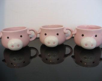 3 little Pink Piggy Mugs
