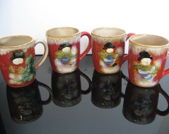 Vintage Holiday Coffee Mugs - Set of 4