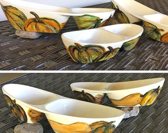 Hand-Painted, Porcelain, Two Compartment Tray, 3 sizes, mixed Pumpkins & Squash, Thanksgiving, Autumn, Serving platters, Gift, Festive