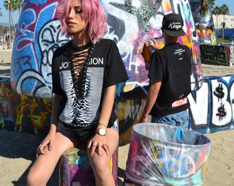 aa7fb446 LF inspired Top - Lace Up Joy Division Tee
