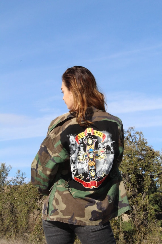 Vintage Camo Military Army Jacket with Guns N Roses Back | Etsy