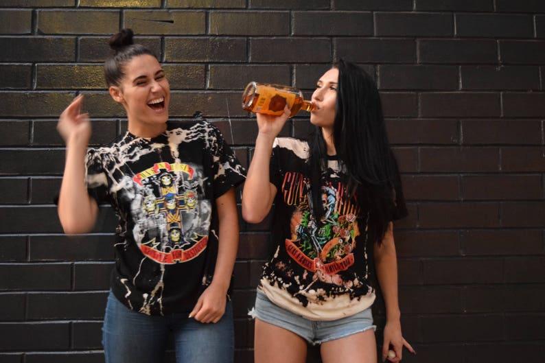 Acid Washed Guns N Roses Tee for Women, M, L