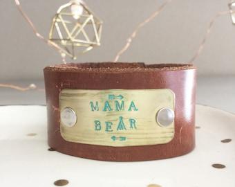 Mama Bear   Leather Cuff Bracelet