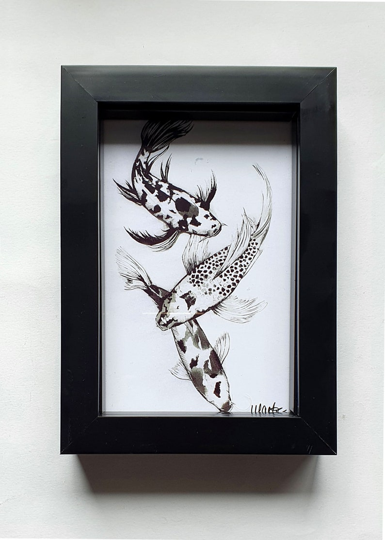 Koi Fish Illustration Framed Print
