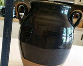 vintage handmade rowe pottery works double handle heavy vase 1980 39 s - cambridge wi - stoneware rustic jar - blue brown crock art signed