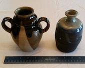 2 vintage signed art stoneware vases - glazed double handle drip pattern bottle pottery bud floral ceramic rustic art deco swirl blue brown