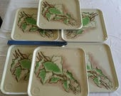 9 vintage white metal tin toleware snack trays w green leaf leaves 10.75 quot x 10.75 quot - retro plant stands patio candles barware outdoor art