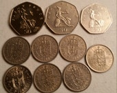 10 great britain vintage coins 1960 - 1997 coin lot dollar cents - world foreign collector money numismatic a29