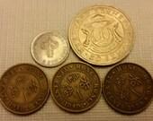 5 brunei hong kong vintage coins 1948 - 1967 sen cents coin lot - world foreign collector money numismatic a16