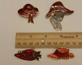 4 ladies red hat society club brooche pins collection - womans jewelry enamel rhinestones charms pins fashion costume dress coat attire G