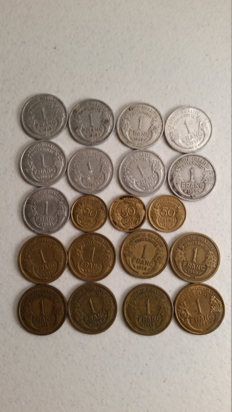 20 france vintage coins 1934-1959 coin lot centimes francs world foreign collector money numismatic a49