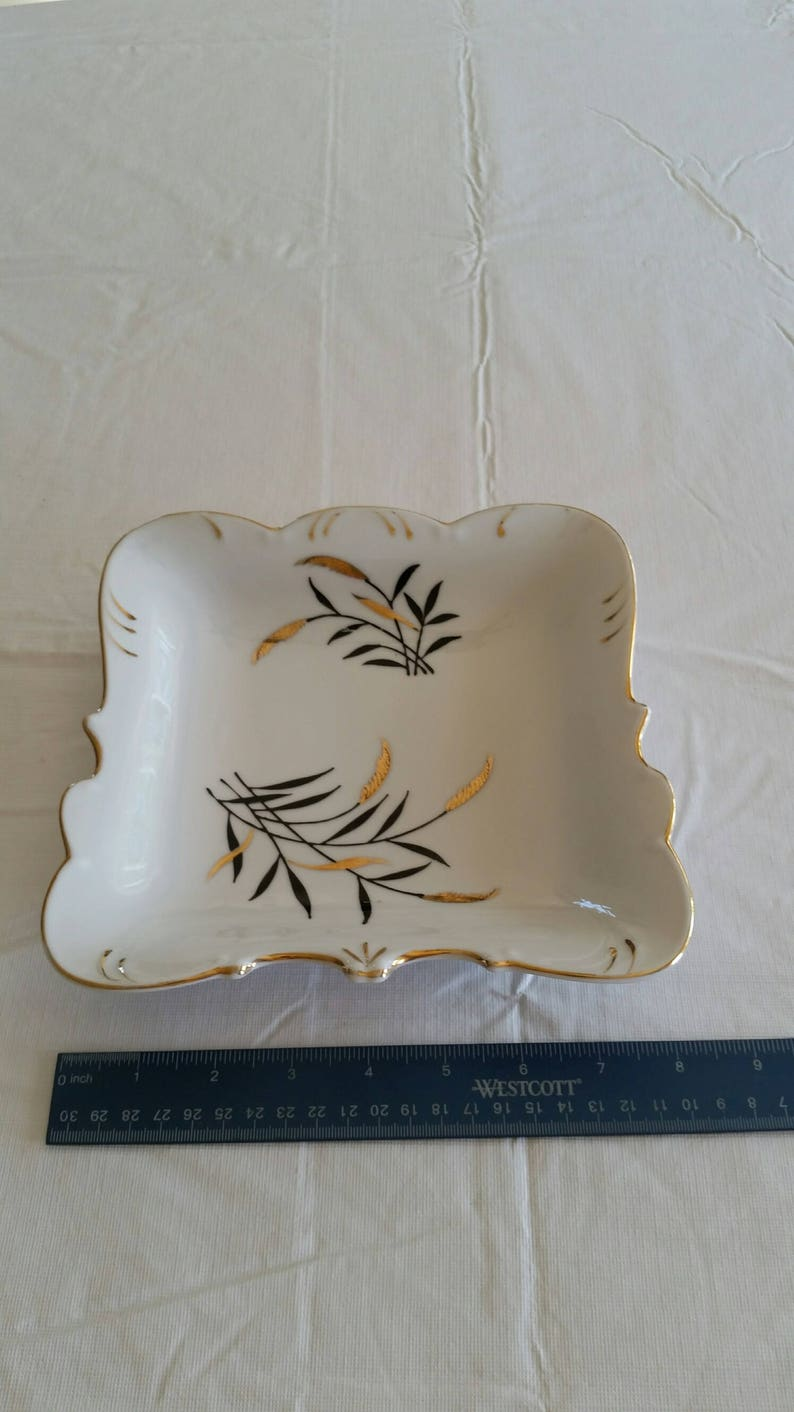 antique fine china 8 square bowl  dish w gold trim and wheat scalloped edges porcelain plate tray vintage kitchen serving bread pan