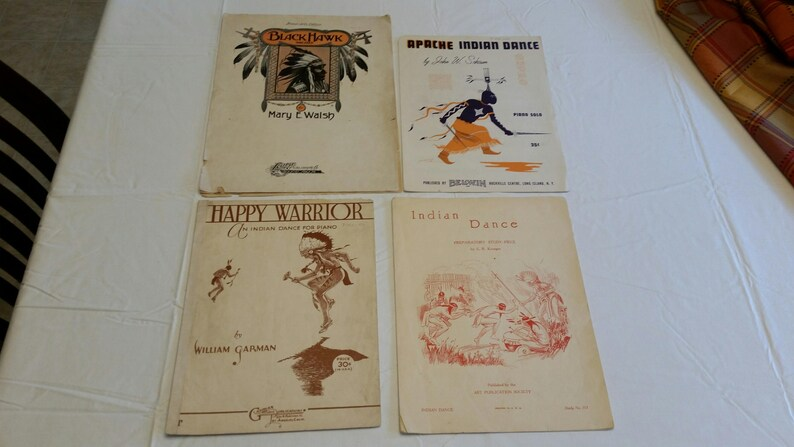 4 antique native american indian dance sheet music booklets 1902 to 1955 -  musical songs pamphets books - piano lyrics apache black hawk a3