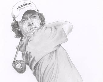fa02b4c583f RORY McILROY golf golfer legend ryder cup Limited Edition art drawing print  signed by UK artist