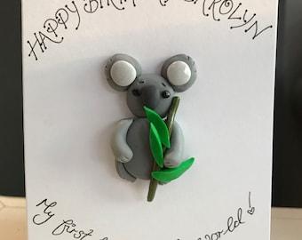 Personalised koala bear birthday greetings card