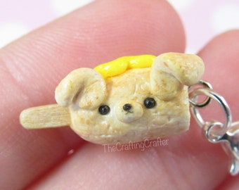 Corn Dog Charm//Polymer Clay Corn Dog//Polymer Clay Charms//Polymer Clay Food//Corn Dog Charm//Corn Dogs//Clay Charms//Cute Stitch Markers