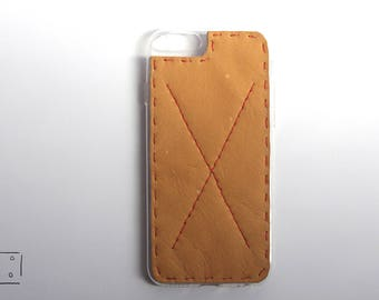 Iphone 6/6S silicon case with hand stiched leather back