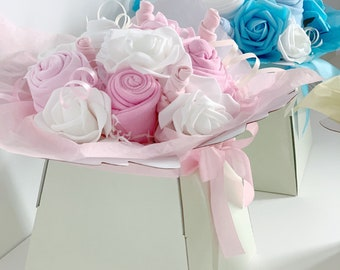 Unique Baby Girl Gift, Pink Baby Gift, Maternity Gift, Baby Shower Gift, Baby Clothing Bouquet, Newborn Gifts, Baby Clothes Bouquet, New Mum