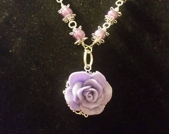 20 inch purple Resin Rose Necklace