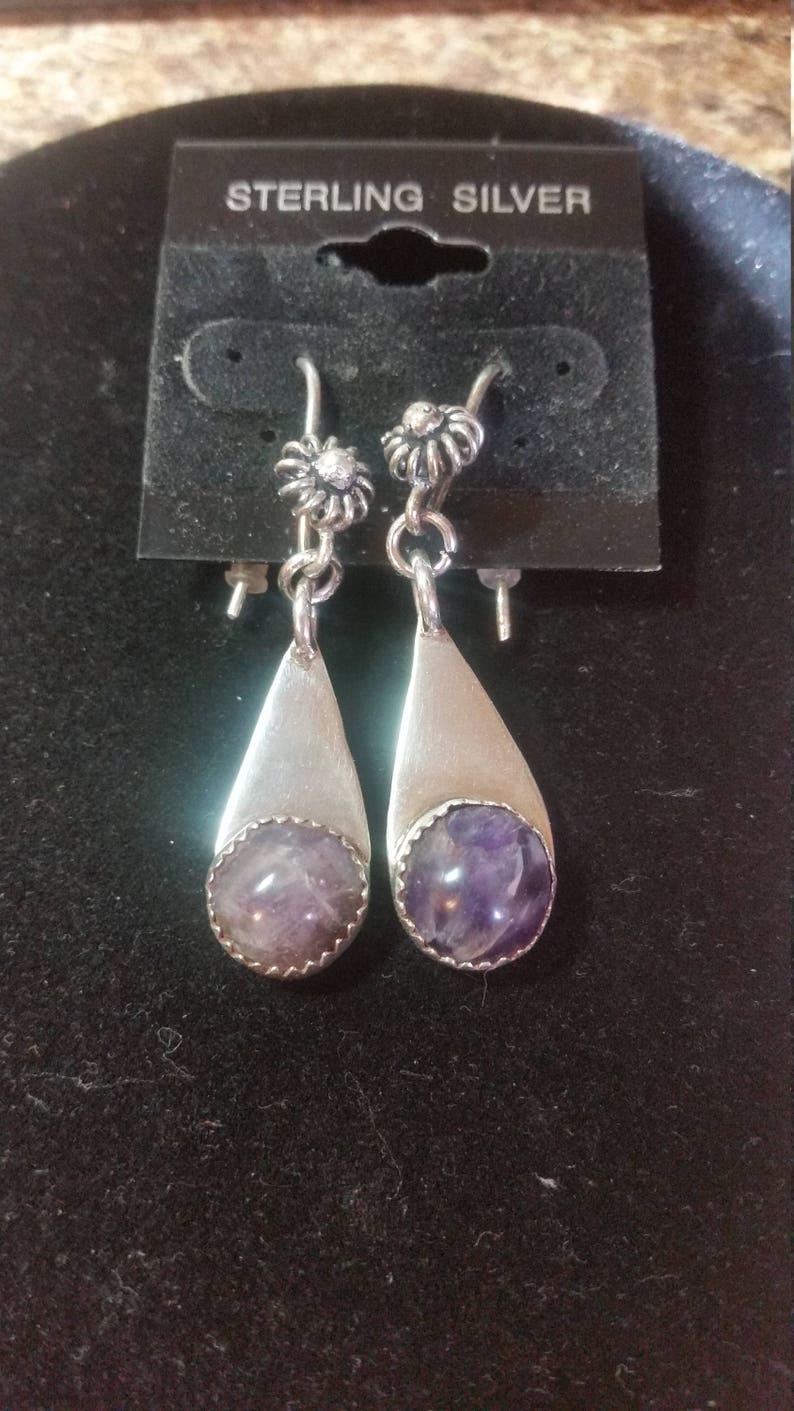 Sterling silver Moroccan amethyst pierced earrings