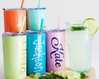Kids Cup Personalized Tumbler Stainless Steel 12oz Mini, kids cup, skinny with lid and straw 12 oz Tumbler, Skinny Tumbler, Maars Brand Cup