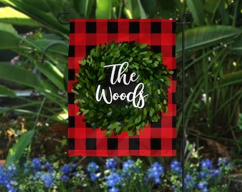 Personalized Garden Flag   Merry Christmas Red Plaid Wreath   Monogrammed  Holiday Winter Flag Boxwood Gift Housewarming Gift Custom Hostess