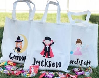 personalized halloween treat bag monogram treat bag name bag reusable gifts for kids halloween trick or treat candy bag fall bag