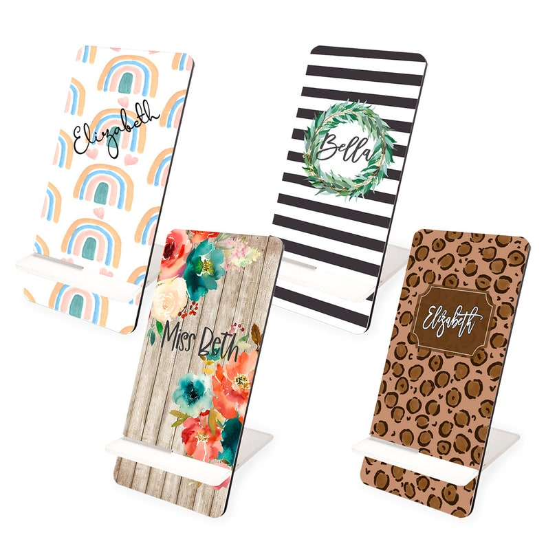 Cell Phone Stand Custom Phone Stand floral phone stand Gift for teacher Graduation Gift Mothers day gift Personalized gift