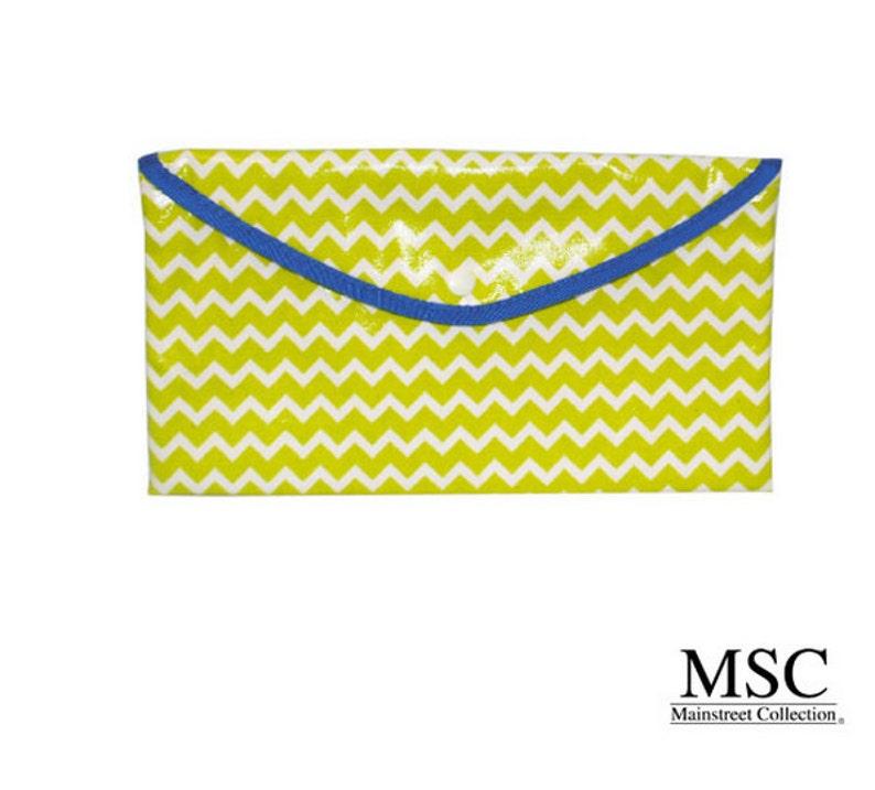 Monogrammed Lime Chevron Envelope Pouch
